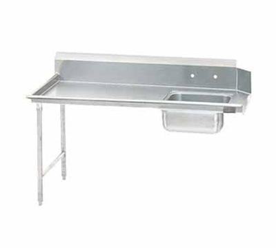 "Advance Tabco DTS-S30-84L 83"" L-R Straight Soil Table - 10.5"" Backsplash, Stainless Legs, 14-ga 304-Stainless"