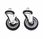"Advance Tabco EC-25 5"" Stem Caster Set - 2-Brakes, 4-Donut Bumpers, Rubber"