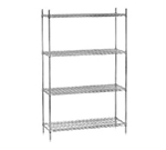 Advance Tabco ECC-2442 Chrome Wire Shelving Unit w/ (4) Levels, 24x42x74""