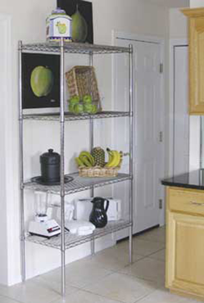 "Advance Tabco ECC-1472RE Residential Shelving Unit - 4-Shelves, 4-Posts, 74x14x72"", Wire, Chrome"