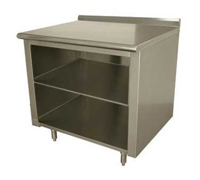 "Advance Tabco EF-SS-309M 108"" Work Table - Open Cabinet Base, Raised Rear Edge, Midshelf, 30"" W"