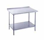 "Advance Tabco FMG-2411 132"" Work Table - Galvanized Frame, Raised Rear Edge, 24"" W, 16-ga 304 Stainless"