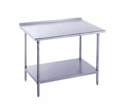 "Advance Tabco FLG-2411 132"" Work Table - Galvanized Frame, Raised Rear Edge, 24"" W, 14-ga 304 Stainless"