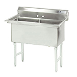 "Advance Tabco FS-2-2424 Fabricated Sink - (2) 24x24x14"" Bowls, Tile Edge Splash, 14-ga 304-Stainless"