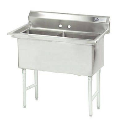"Advance Tabco FS-2-1818 Fabricated Sink - (2) 18x18x14"" Bowls, Tile Edge Splash, 14-ga 304-Stainless"