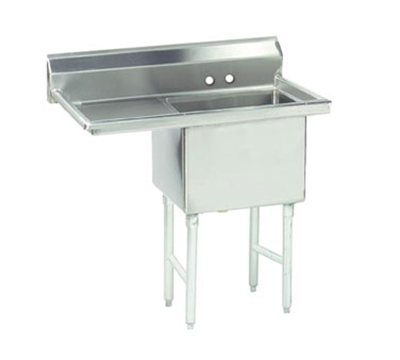 "Advance Tabco FS-1-1824-24L Fabricated Sink - 18x24x14"" Bowl, 24"" Left Drainboard, 14-ga 304-Stainless"