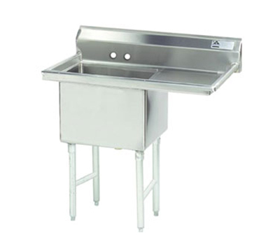 "Advance Tabco FS-1-1824-24R Fabricated Sink - 18x24x14"" Bowl, 24"" Right Drainboard, 14-ga 304-Stainless"
