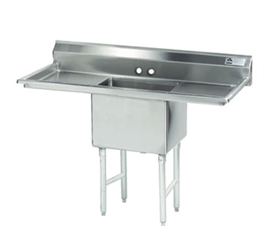 "Advance Tabco FS-1-1824-24RL Fabricated Sink - 18x24x14"" Bowl, 24"" R-L Drainboard, 14-ga 304-Stainless"