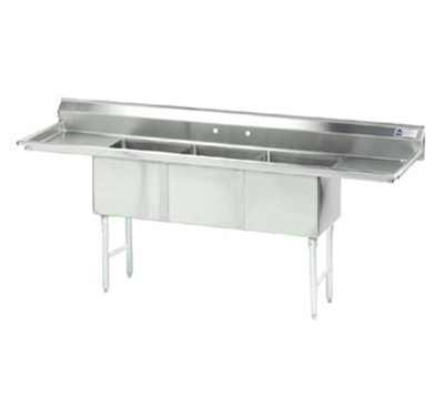 "Advance Tabco FC-3-1620-18RLX Fabricated Sink - (3) 16x20x14"" Bowl, R-L Drainboards, 16-ga 304-Stainless"