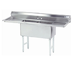 "Advance Tabco FS-2-1824-18RL Fabricated Sink - (2) 18x24x14"" Bowls, 18"" R-L Drainboard, 14-ga 304-Stainless"