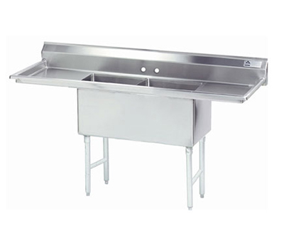 "Advance Tabco FS-2-1824-24RL Fabricated Sink - (2) 18x24x14"" Bowls, 24"" R-L Drainboard, 14-ga 304-Stainless"