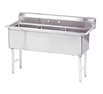 "Advance Tabco FC-3-1818 59"" 3-Compartment Sink w/ 18""L x 18""W Bowl, 14"" Deep"