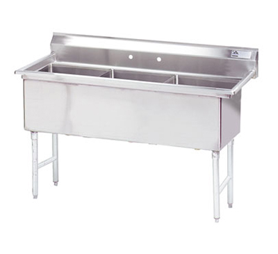 "Advance Tabco FS-3-2424 77"" 3-Compartment Sink w/ 24""L x 24""W Bowl, 14"" Deep"