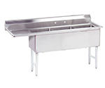 "Advance Tabco FC-3-1824-18L Fabricated Sink - (3) 18x24x14"" Bowl, 18"" Left Drainboard, 16-ga 304-Stainless"