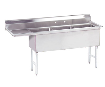 "Advance Tabco FC-3-2424-24L Fabricated Sink - (3) 24x24x14"" Bowl, 24"" Left Drainboard, 16-ga 304-Stainless"