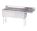 "Advance Tabco FS-3-1824-18R Fabricated Sink - (3) 18x24x14"", 18"" Right Drainboard, 14-ga 304-Stainless"