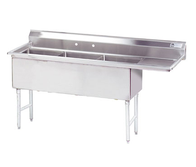 "Advance Tabco FS-3-1824-24R Fabricated Sink - (3) 18x24x14"", 24"" Right Drainboard, 14-ga 304-Stainless"