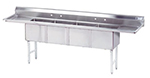 "Advance Tabco FC-4-2424-24RLX Fabricated Sink, (4) 24x24x12"" D, 24"" L, R Drainboard, 16-Ga. Stainless"