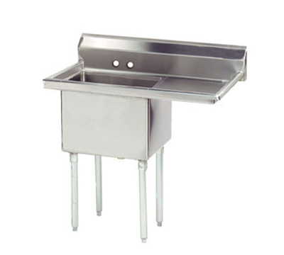 "Advance Tabco FE-1-1812-18R Fabricated Sink - 18x18x12"" Bowl, 18"" Right Drainboard, 18-ga 304-Stainless"