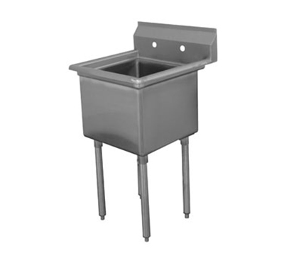 "Advance Tabco FE-1-1824 Fabricated Sink - 18x24x14"" Bowl, Tile Edge Splash, 18-ga 304-Stainless"