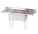 "Advance Tabco FE-2-1812-18RLX Fabricated Sink - (2) 18x18x12"" Bowl, 18"" R-L Drainboard, 18-ga 304-Stainless"