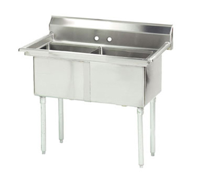 "Advance Tabco FE-2-1812 Fabricated Sink - (2) 18x18x12"" Bowl, Tile Edge Splash, 18-ga 304-Stainless"