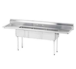 "Advance Tabco FE-3-1620-18RLX Fabricated Sink - (3) 16x20x12"" Bowl, 18"" R-L Drainboard, 18-ga 304-Stainless"