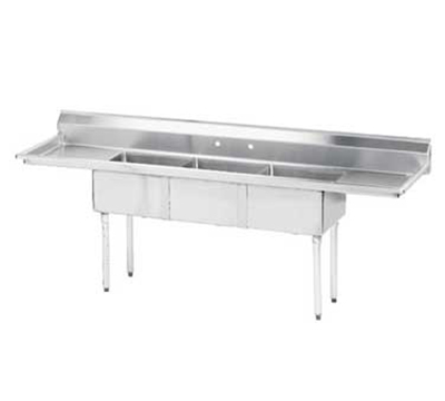 "Advance Tabco FE-3-1812-18RLX Fabricated Sink - (3) 18x18x12"" Bowl, 18"" R-L Drainboard, 18-ga 304-Stainless"