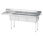 "Advance Tabco FE-3-1620-18L-X 68.5"" 3-Compartment Sink w/ 16""L x 20""W Bowl, 12"" Deep"