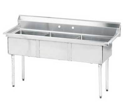 "Advance Tabco FE-3-1812 Fabricated Sink - (3) 18x18x12"" Bowl, Tile Edge Splash, 18-ga 304-Stainless"