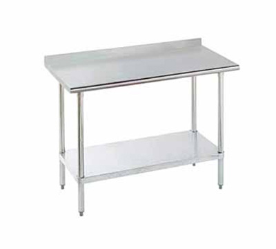 "Advance Tabco FLAG-244 48"" 16-ga Work Table w/ Undershelf & 430-Series Stainless Top, 1.5"" Backsplash"