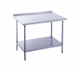 "Advance Tabco FSS-3012 144"" 14-ga Work Table w/ Undershelf & 304-Series Stainless Top, 1.5"" Backsplash"