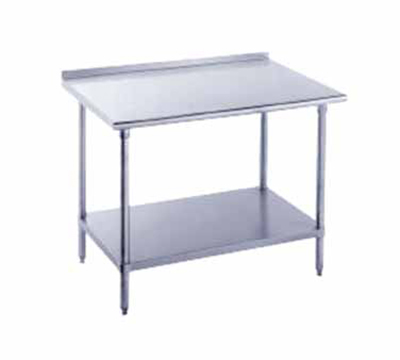"Advance Tabco FMS-308 96"" 16-ga Work Table w/ Undershelf & 304-Series Stainless Top, 1.5"" Backsplash"