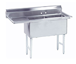 "Advance Tabco FS-2-1824-24L 62.5"" 2-Compartment Sink w/ 18""L x 24""W Bowl, 14"" Deep"