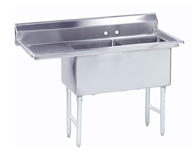 "Advance Tabco FS-2-2424-24L Fabricated Sink - (2) 24x24x14"" Bowls, 24"" Left Drainboard, 14-ga 304-Stainless"