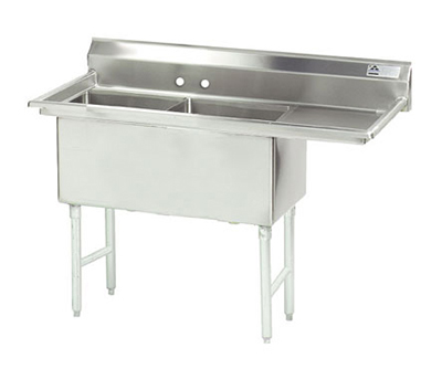 "Advance Tabco FS-2-2424-24R Fabricated Sink - (2) 24x24x14"" Bowls, 24"" Right Drainboard, 14-ga 304-Stainless"