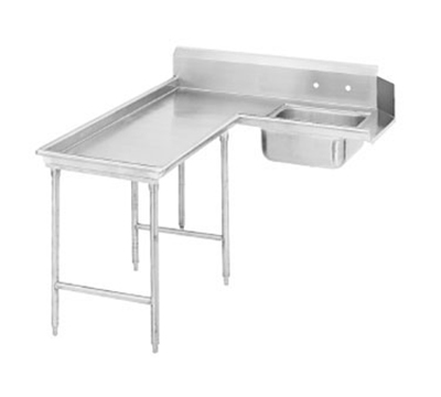 "Advance Tabco DTS-G30-120L 119"" L-R Island Soil Dishtable - 10.5"" Backsplash, Stainless Legs, 14-ga Stainless"
