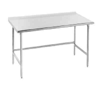 "Advance Tabco TSFG-3611 132"" Work Table - 1.5"" Splash, Bullet Feet, 36"" W, 16-ga 430-Stainless"