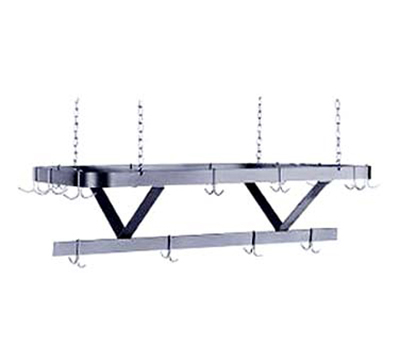 "Advance Tabco GC-96 96"" Pot Rack - Triple Bar Design, Ceiling Chain Hangers, Galvanized Steel"