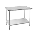 "Advance Tabco AG-2411 Work Table - Adjustable Undershelf, Gussets, 24x132"", 16-ga 430-Stainless"