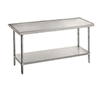 "Advance Tabco VLG-249 108"" Work Table - Galvanized Frame, Non-Drip Edge, 24"" W, 14-ga 304-Stainless"