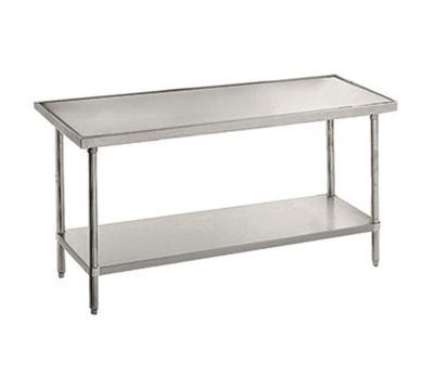 "Advance Tabco VLG-3612 144"" Work Table - Galvanized Frame, Non-Drip Edge, 36"" W, 14-ga 304-Stainless"