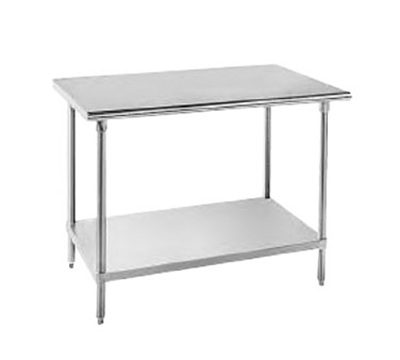 "Advance Tabco MS-249 108"" Work Table - Adjustable Undershelf, 24"" W, All 16-ga 304-Stainless"