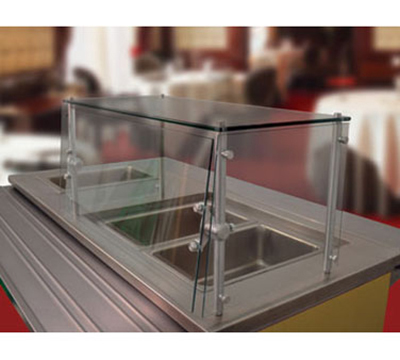 Advance Tabco GSGC-12-72 Cafeteria Style Food Shield - Glass Top Shelf, 100-lb Capacity, 12x72x18