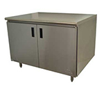 "Advance Tabco HB-SS-309M 108"" Enclosed Work Table w/ Swing Doors & Midshelf, 30""D"