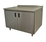 "Advance Tabco HF-SS-3012M 144"" Enclosed Work Table w/ Swing Doors & Midshelf, 1.5"" Backsplash, 30""D"