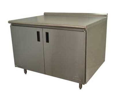 "Advance Tabco HF-SS-364M 48"" Enclosed Work Table w/ Swing Doors & Midshelf, 1.5"" Backsplash, 36""D"