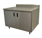 "Advance Tabco HK-SS-369M 108"" Enclosed Work Table w/ Swing Doors & Midshelf, 5"" Backsplash, 36""D"