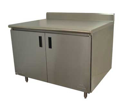 "Advance Tabco HK-SS-2412 144"" Enclosed Work Table w/ Swing Doors & 5"" Backsplash, 24""D"