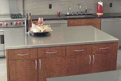 "Advance Tabco ICT486RE 73"" Island Countertop - 49"" W, 16-ga 304-Stainless, Satin Finish"